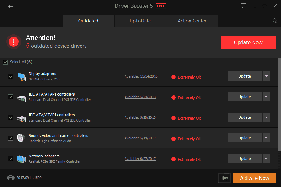 Driver Booster Outdated Drivers Found