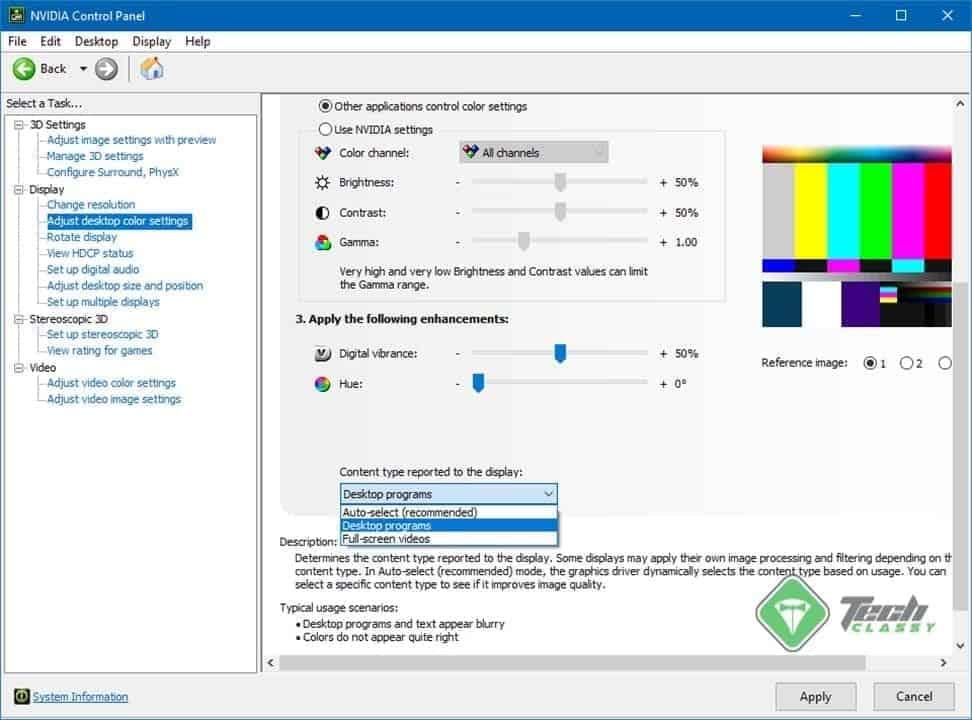 Set Content Type as Desktop Programs on NVIDIA Control Panel