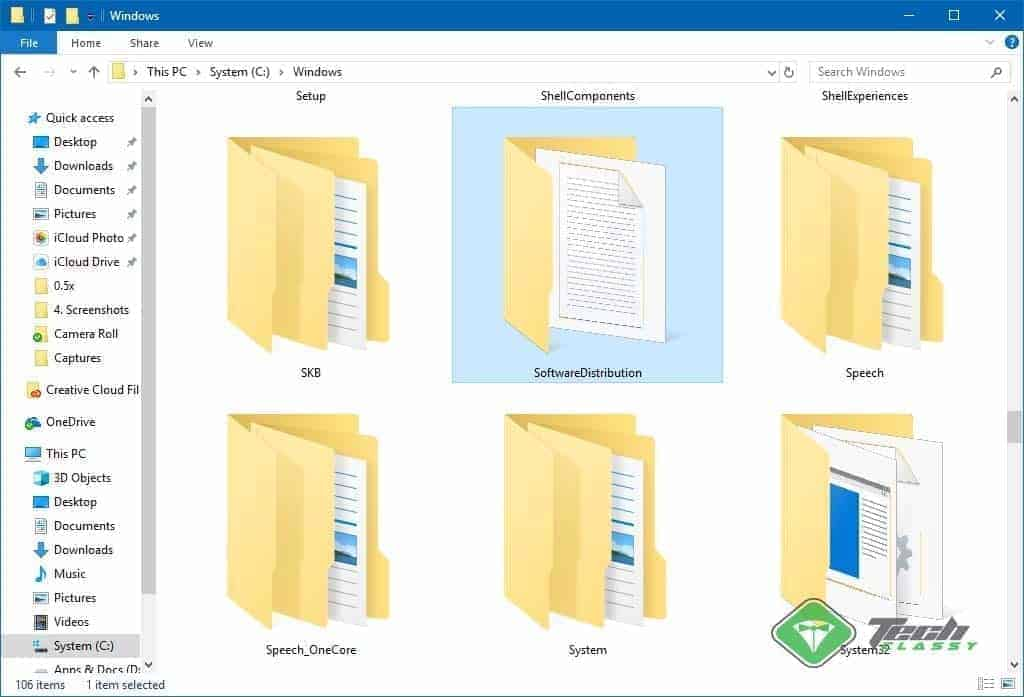 Software Distribution Folder Screenshot on Windows 10