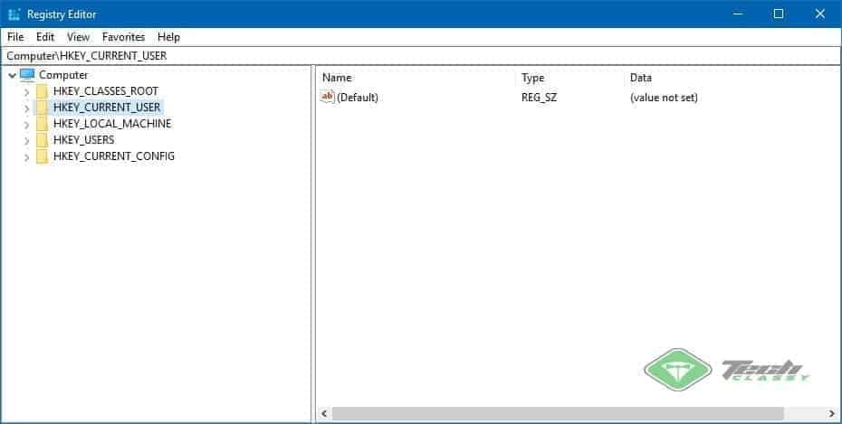 Windows Registry Screenshot