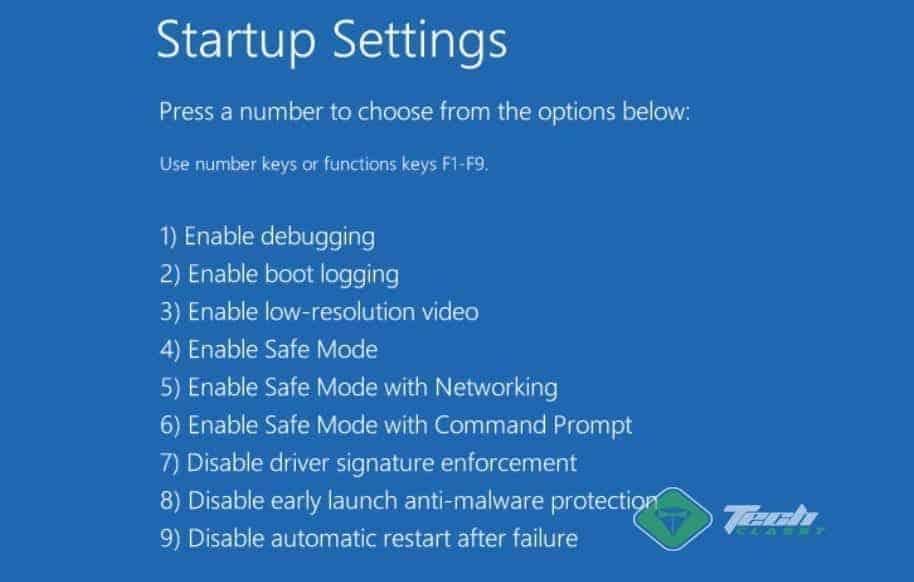 Advanced Boot Menu Start Up Settings Windows