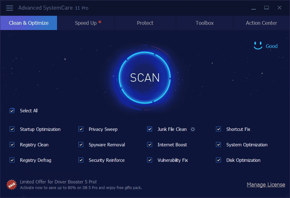 IObit Advanced SystemCare Pro 11 User Interface