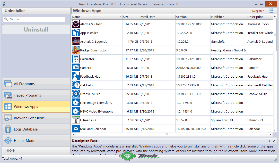 Windows Apps Remover Revo Uninstaller Pro 4