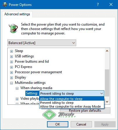 Allow Windows to sleep while sharing media