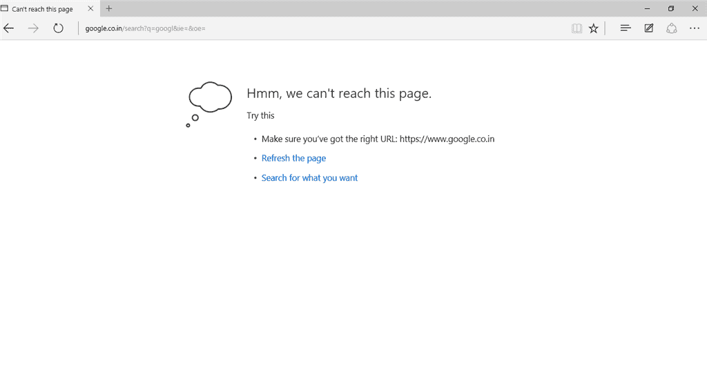We can't reach this page in Microsoft Edge