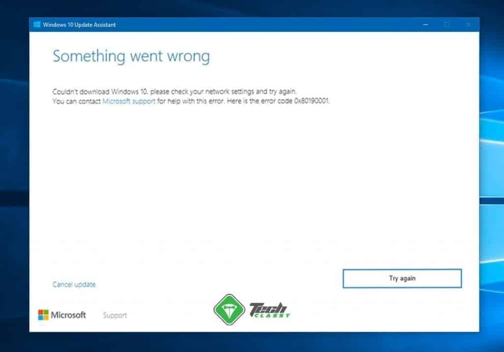 screenshot Windows update error 0x80190001