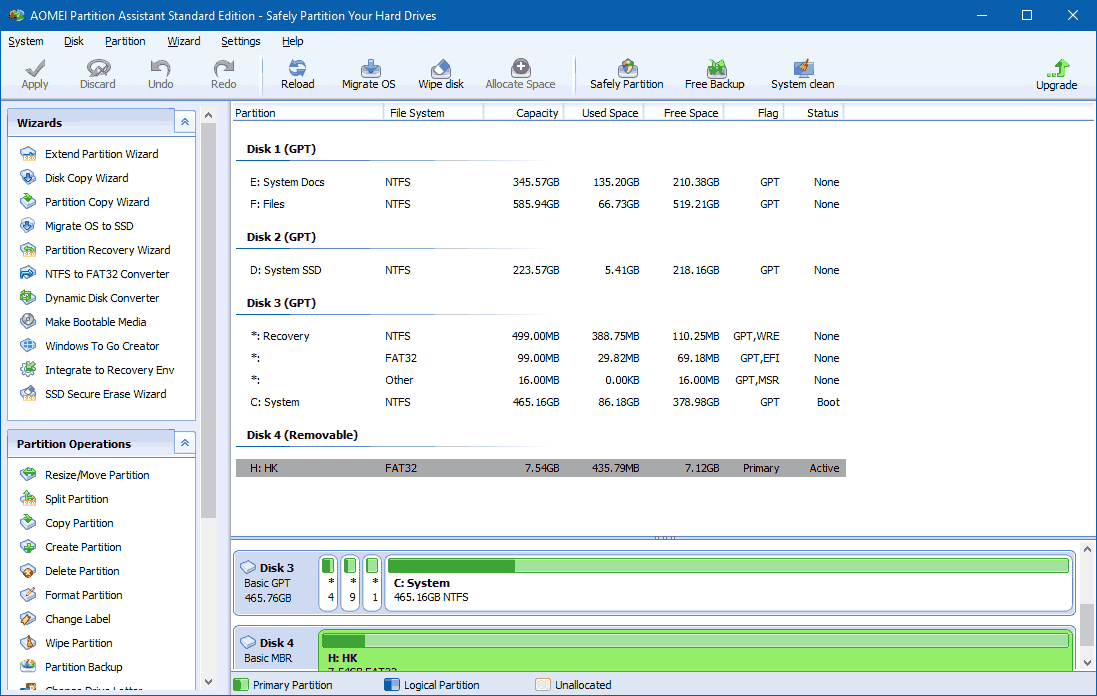 AOMEI Partition Assistant Interface