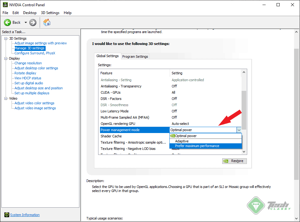 Fix Driver Power State Failure by Tweaking Power Management in NVIDIA Control Panel
