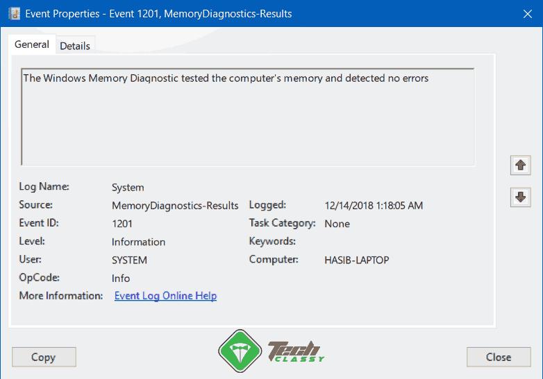 RAM Test Result