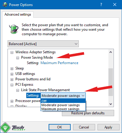 Turning off Power Savings for PCI and Wireless Adapters