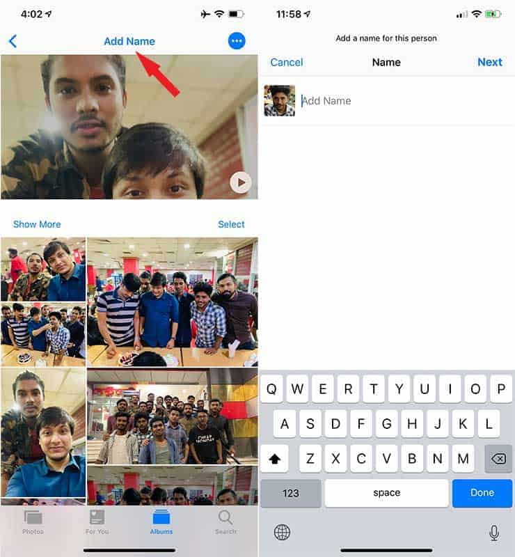 Add Name to People Profile in Photo Album in iPhone