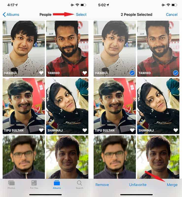 Merge Profiles in People Album iOS