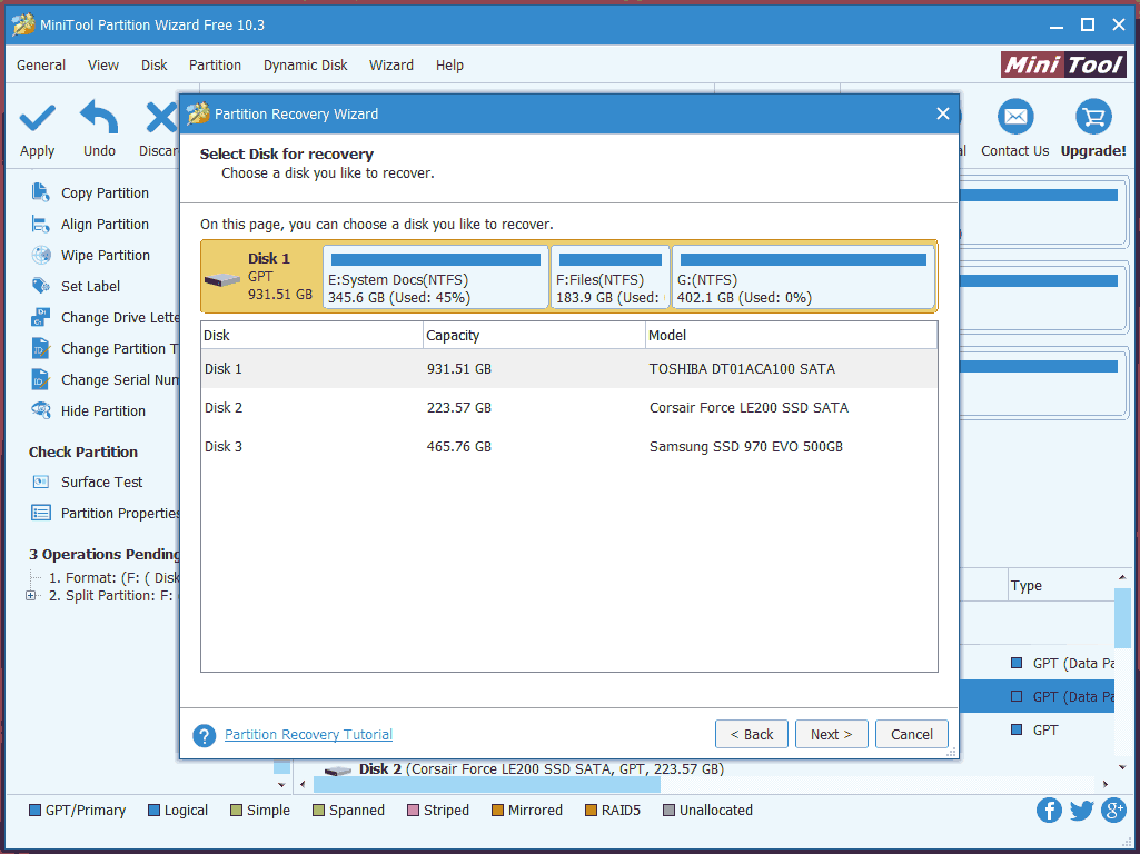 MiniTool Partition Wizard UI