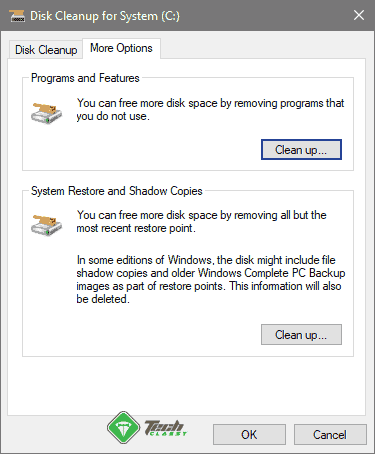 More Options Disk Cleanup