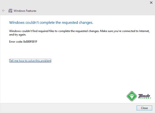 Error 0x800F081F While Installing .Net Framework