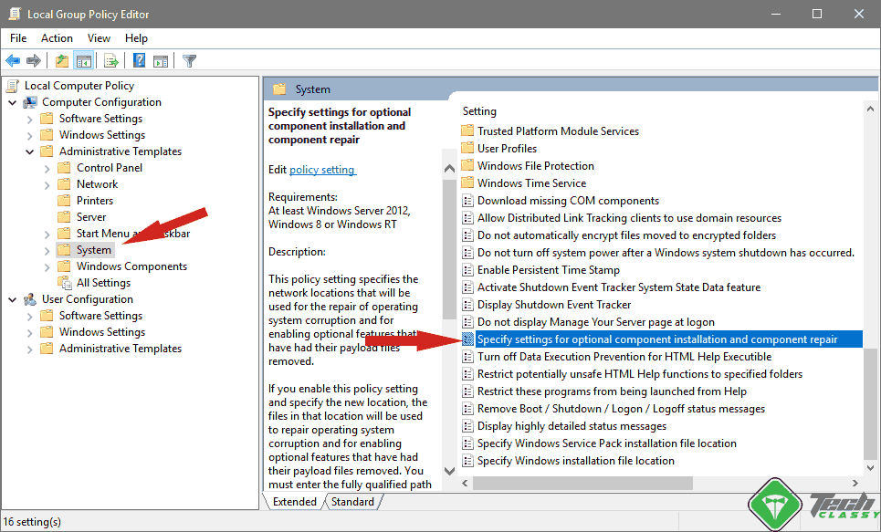Fix Error 0x800F081F using Local Group Policy Editor
