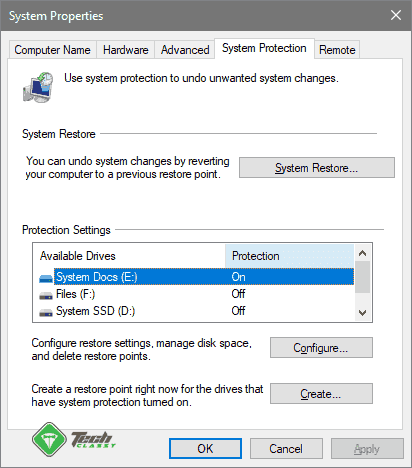 System Protection Tab on System Propeties