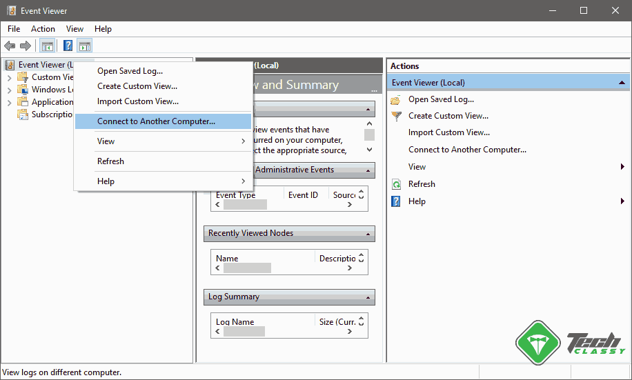 Connect to another PC Windows Event Viewer