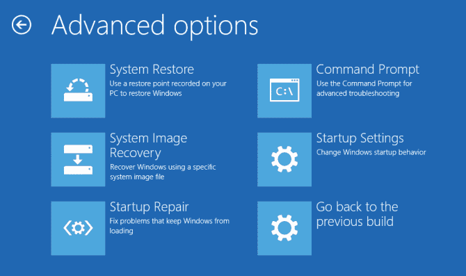 windows recovery mode Advanced Options