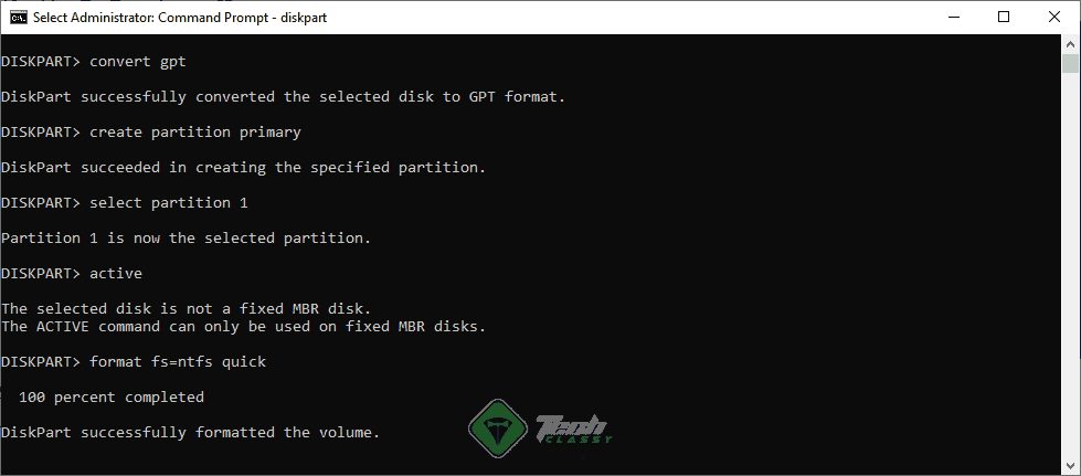 Convert GPT using command prompt
