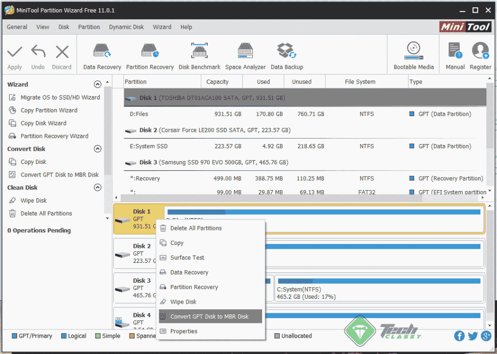 Convert Partition Scheme using MiniTool Partition Wizard