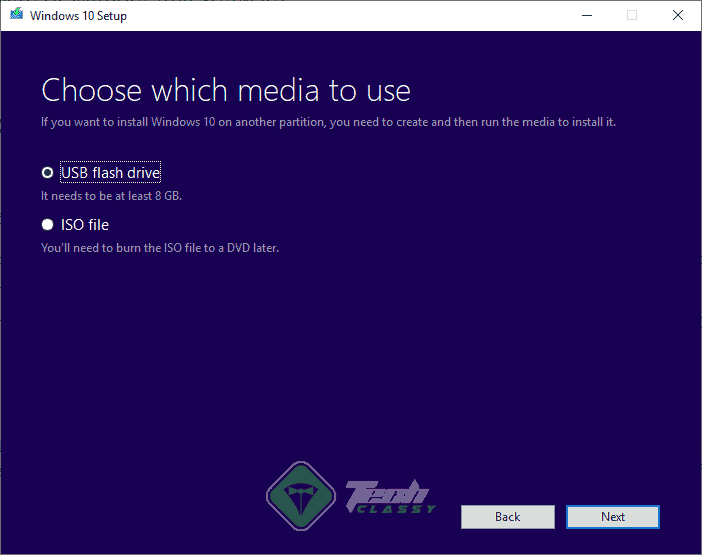 Create Bootable USB Drive in Media Creation Tool