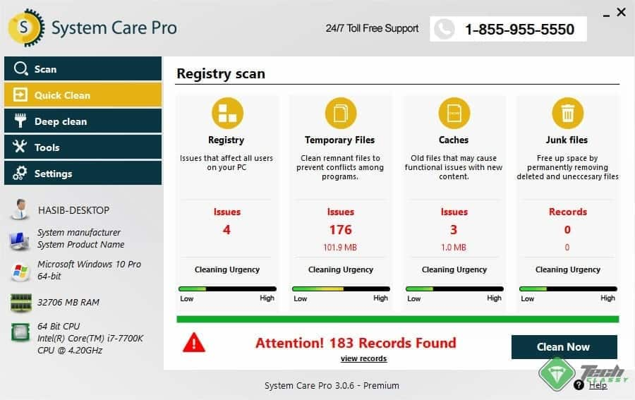 SystemCarePro Found Junk Files
