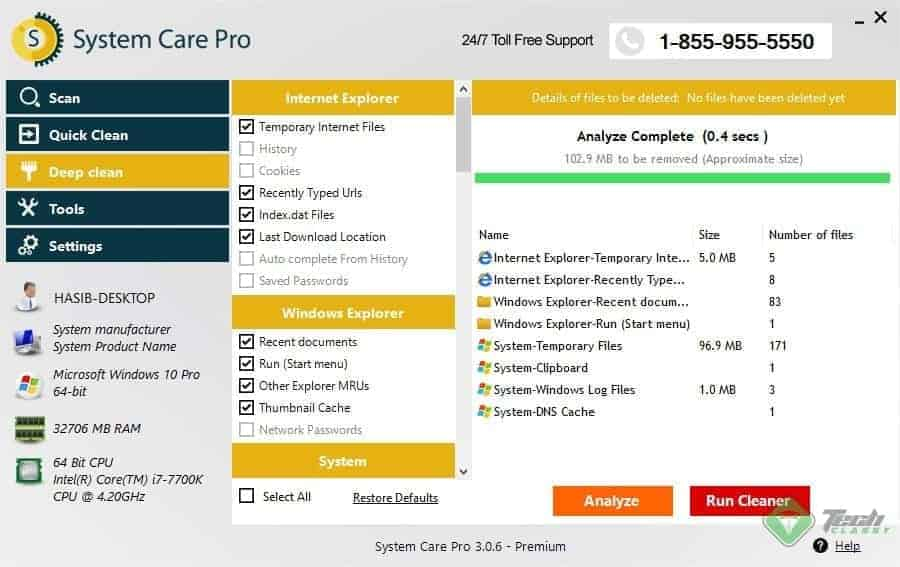SystemCarePro Deep Scan