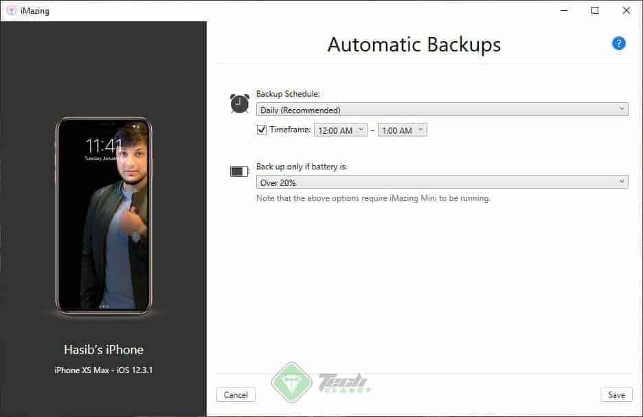 Configure Schedule Backup iMazing
