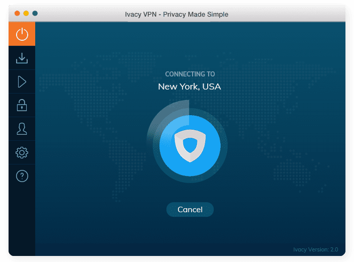 Ivacy VPN Mac App Connecting