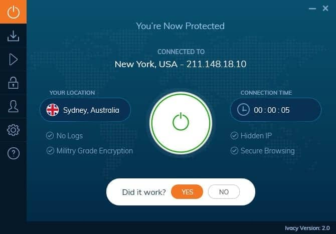 Ivacy VPN Windows 10 App Connected