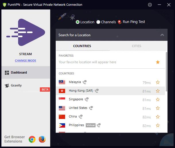 PureVPN Server list in Windows Desktop App
