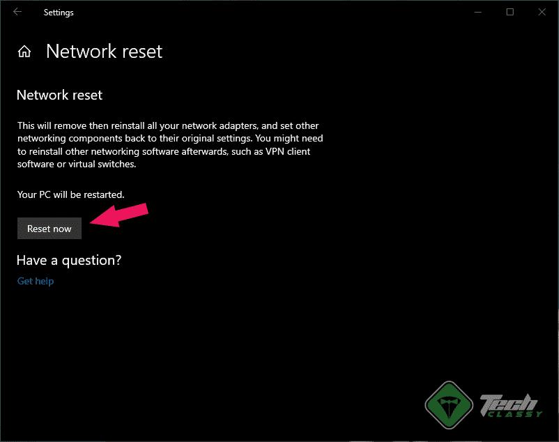 Reset Now Network Windows 10