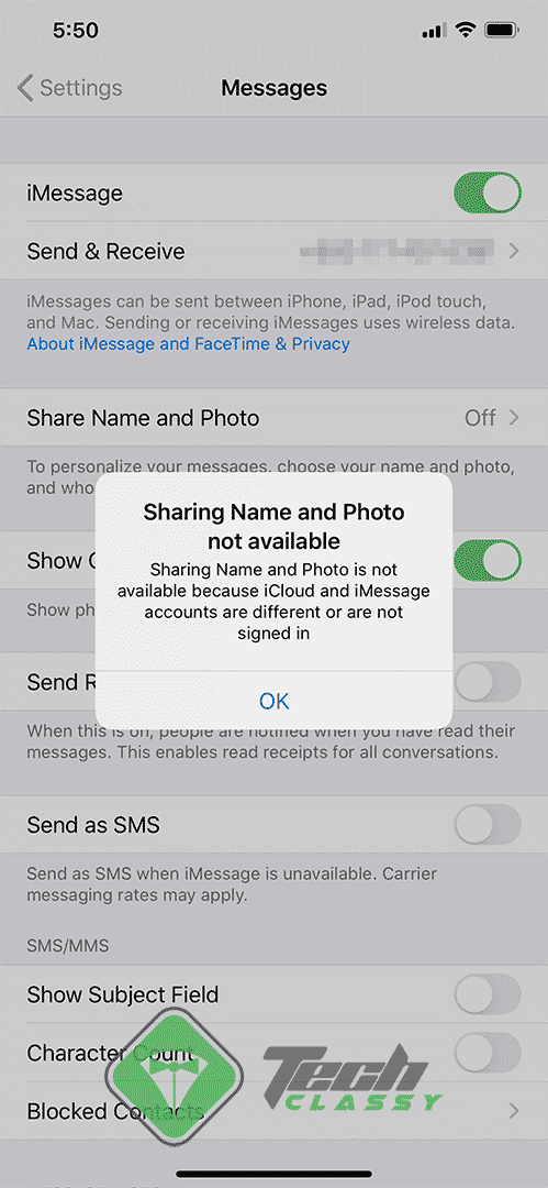 Screenshot Name and Photo Sharing is not Available on iPhone