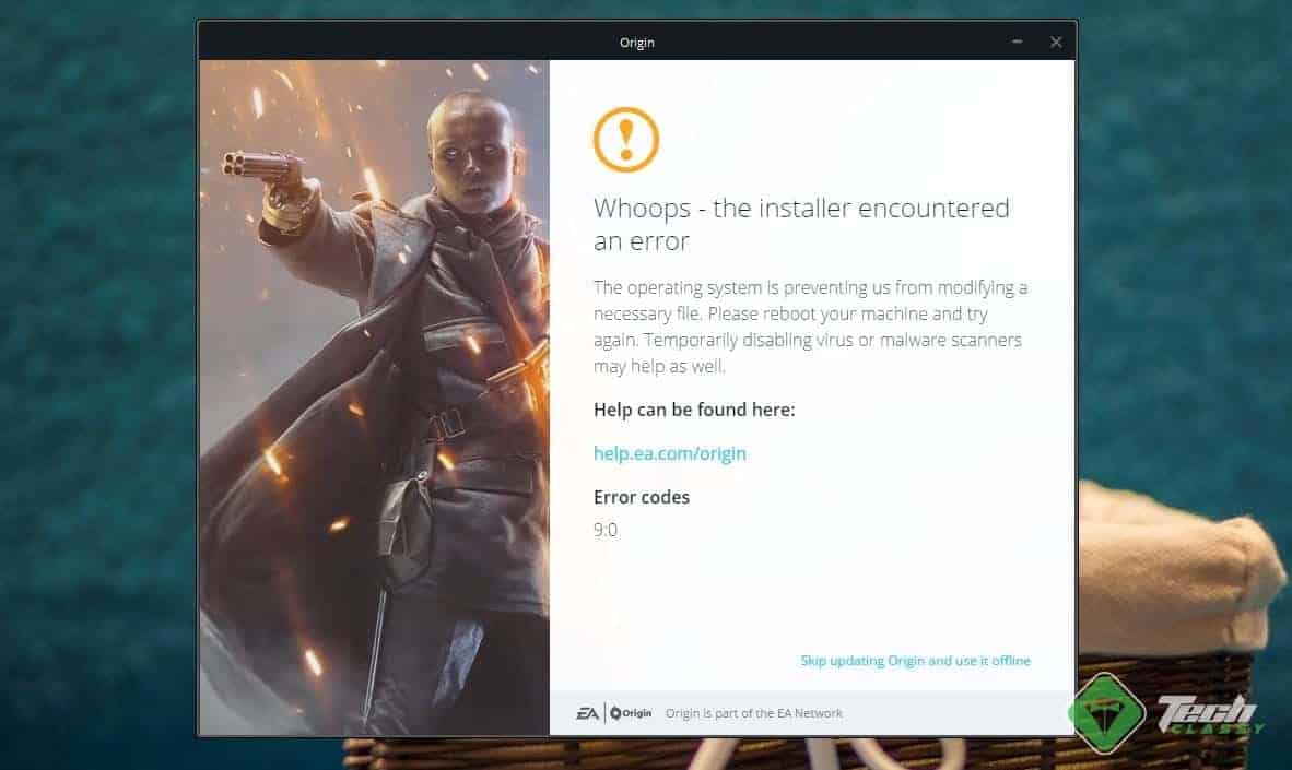 Origin Error 9:0 on Windows 10