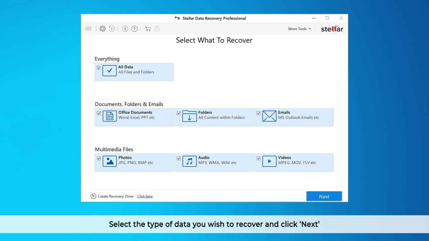 Stellar Data Recovery Professional User Interface