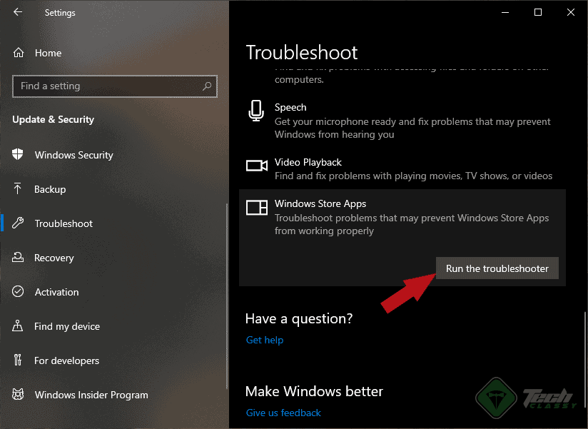 Launching Windows Store Apps Troubleshooter