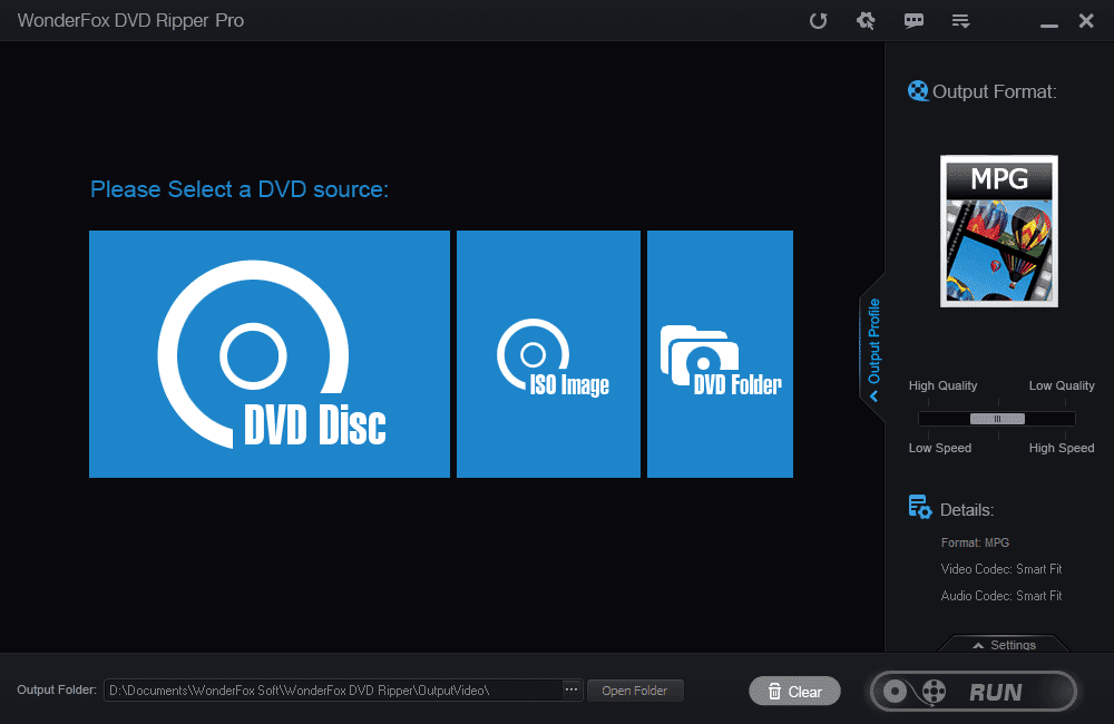 Wonderfox DVD Ripper Pro Main Interface