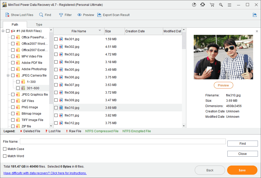 File Preview MiniTool Power Data Recovery Scan Result