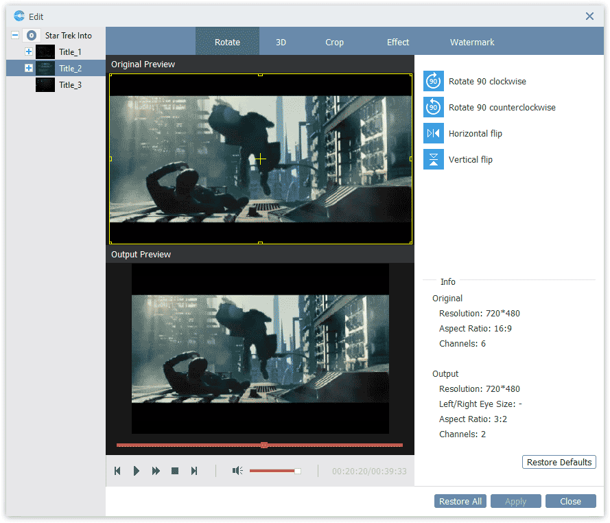 Video Editor in BD-DVD Ripper