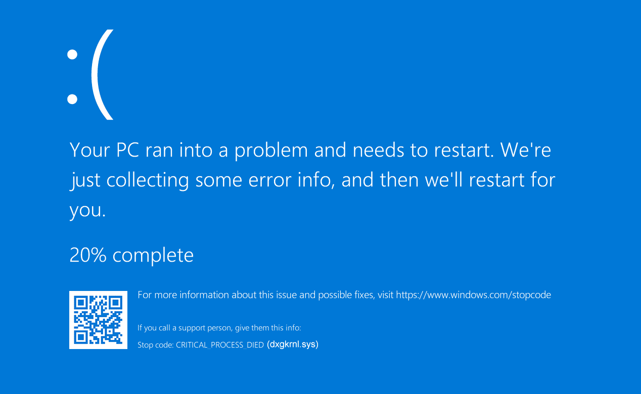 dxgkrnl.sys blue screen screenshot