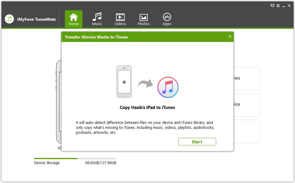 TunesMate Transferring Media to iTunes