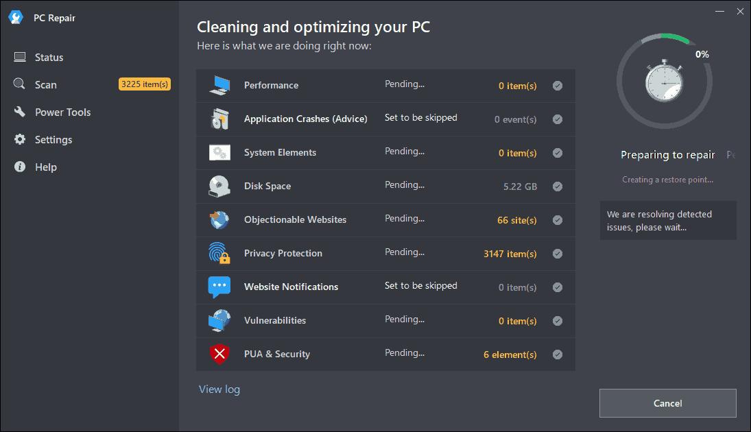 Repairing PC using Outbyte PC Repair
