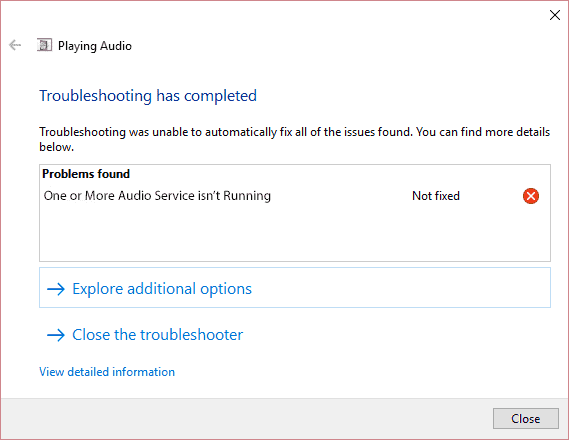 Fix One or More Audio Service isn't Running in Windows 10