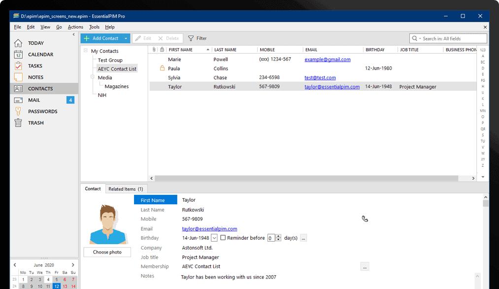 EssentialPIM Screenshot 6