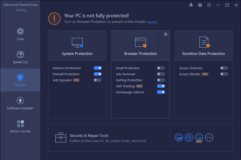 Advanced SystemCare Pro Protect Tab: Privacy Features
