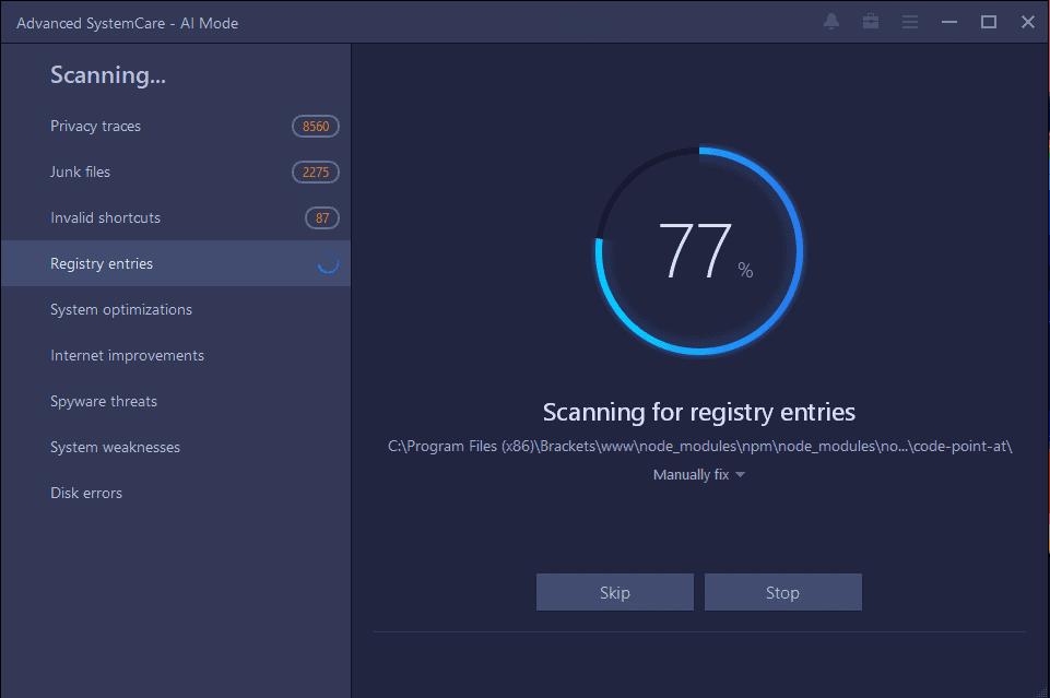 Advanced SystemCare Pro Scanning Screenshot