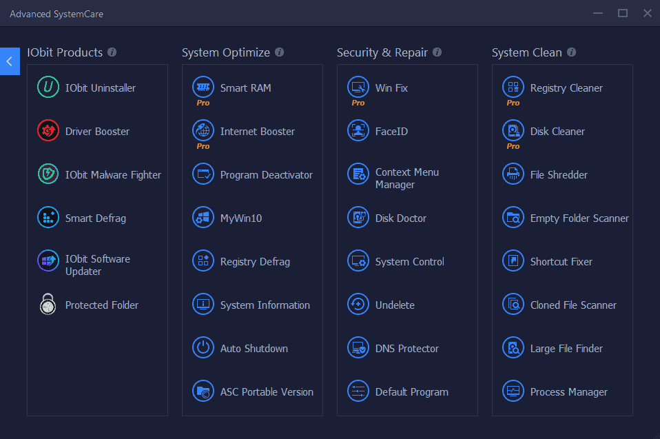 Advanced SystemCare 14 Pro Extra Features