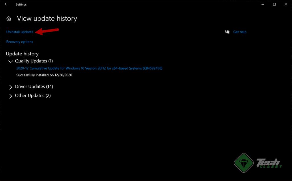 Click On Uninstall Updates Windows 10