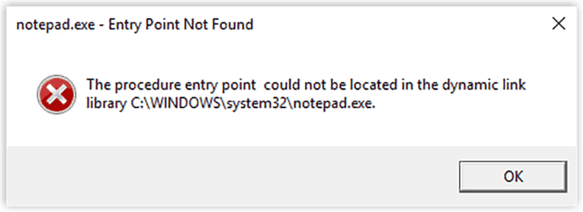 Entry Point Not Found Screenshot